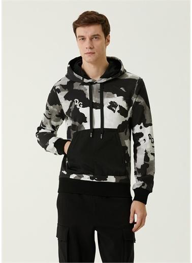 Dolce&Gabbana Dolce&Gabbana 101620214 Kanguru Cepli Desenli Erkek Sweatshırt Gri